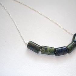 Sterling Silver & Blue-Green Stones Necklace
